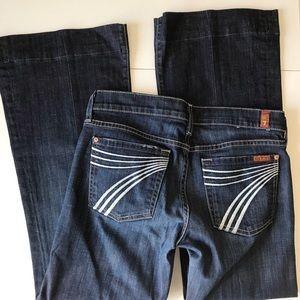 7FAM   Dojo Flare Wide Leg Dark Wash Jeans 27